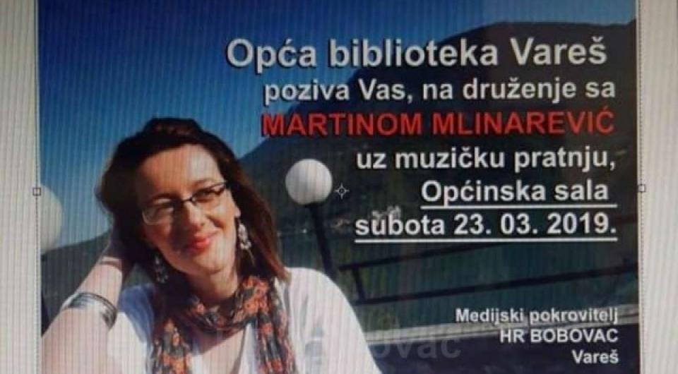 Pozivamo vas na književnu večer i druženje s Martinom Mlinarević